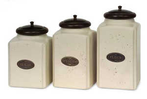 Imax Corp 5358-3 Ceramic Jars With Metal Tags
