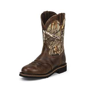 Justin Boots WK4675 Men's Rugged Tan Cowhide Stampede Waterproof Work Boots 9.5d