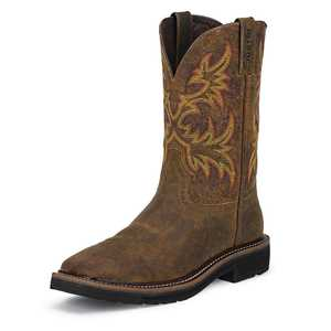 Justin Boots WK4681 Men's Rugged Tan Cowhide Stampede Work Boots 12d