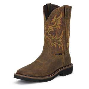 Justin Boots WK4682 Men's Rugged Tan Cowhide Stampede Steel Toe Work Boots 12d