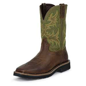 Justin Boots WK4687 Men's Waxy Brown Cowhide Stampede Work Boots 10d