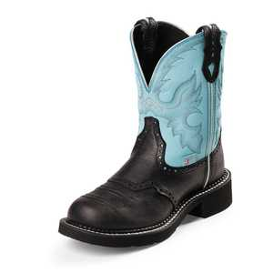 Justin Boots L9905 Women's Black Gypsy Boots With Light Blue Top 9b
