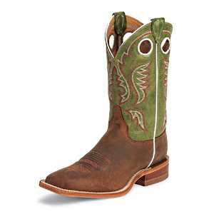 Justin Boots BR307 Men's Cognac Bent Rail Boots With Green Top 12b