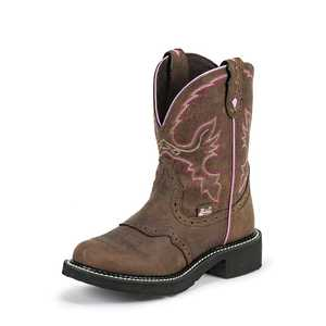 Justin Boots L9903 Women's Brown Gypsy Boots With Pink Detail Size 7