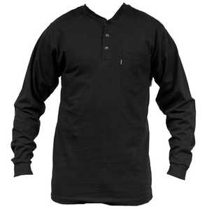 Key Industries 865.01 4X-Large Black Heavyweight 3-Button Henley Long Sleeve Pocket T-Shirt