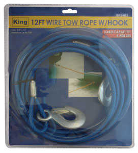 King Tools & Equipment 1072-0 Wire Rope With Hook 12 ft