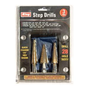 King Tools & Equipment 1254-0 Step Drill 3pc