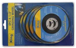King Tools & Equipment 1397-0 5-Piece 4-1/2 in Grinding Disc
