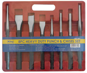 King Tools & Equipment 1601-0 Punch Set Hollow Point 8pc