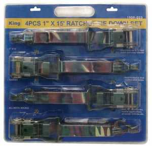 King Tools & Equipment 1909-0 Camo Ratcheting Tie Down 4pc