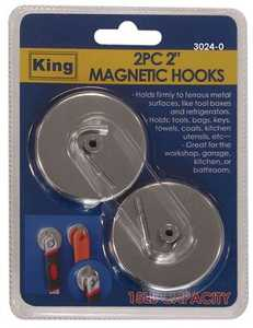 King Tools & Equipment 3024-0 Hook Magnetic 2 in 2pc