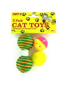 KOLE IMPORTS DI007 Cat Toys 3 pk Assorted