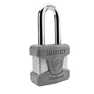 Kwikset 90260-002 2-Inch Long-Shackle SmartKey Padlock