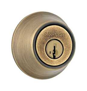 Kwikset 660 5 CP Single Cylinder Deadbolt Antique Brass