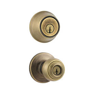 Kwikset 690P 5 CP Polo Antique Brass Combo Pack