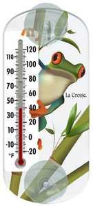 La Crosse 204-108 6.5 in Frog Clear Window Thermometer