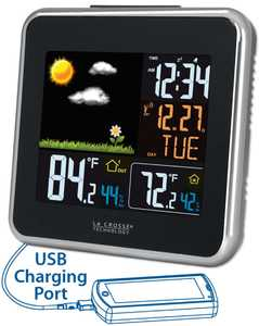 LA CROSSE TECHNOLOGY LTD 308-146 Wireless Atomic Color Weather Station With Usb Charging