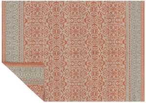 LOLOI KM-02 Emmie Kay Hand Woven 100% Wool Rug Persimmon /Grey 7 ft 9 in X9 ft 9 in