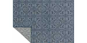 LOLOI KM-03 Emmie Kay Hand Woven 100% Wool Rug Navy /Cream 7 ft 9 in X9 ft 9 in