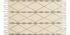 LOLOI TF-01 Tulum Hand Knotted 100% Wool Rug Ivory/Pebble 5 ft 6 in X8 ft 6 in