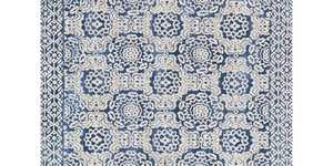 LOLOI LB-06 Lotus Power Loomed Rug Blue/Antique Ivory 2 ft 3 in X3 ft 9 in