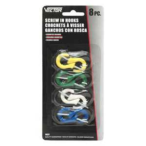 Vector 1431 Hooks Colour Screw In 8pc Pack