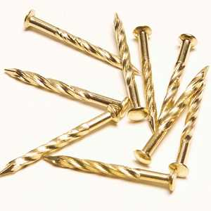 M-D Building Products 21485 #13 x 1-1/4 in Metal Screw Nails For Carpet 12pk Brass