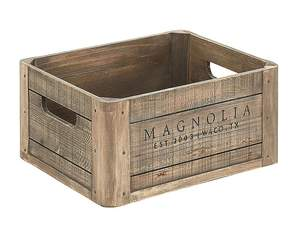 Magnolia Home 90902008B4 Weathered Wood Crate With Magnolia Logo
