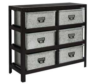 Magnolia Home 8030108M Zinc And Black Metal Storage Bin Chest