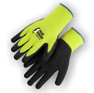 Polar Penguin 3396HY/XL X-Large High-Visibility Yellow Knit Gloves with Rubber Palm