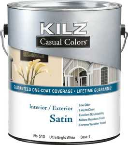 Kilz MR50504 Kilz Casual Colors Int/Ext Paint Satin White Qt