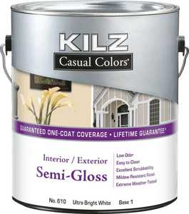 Kilz MR60504 Kilz Casual Colors Int/Ext Paint Semi-Gloss White Qt