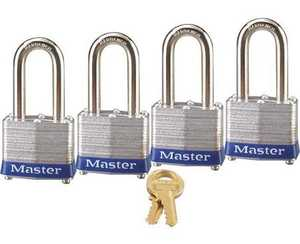 Master Lock 3QLF 1-9/16-Inch Wide Laminated Steel Pin Tumbler Padlock With 1-1/2-Inch Shackle 4-Pack