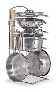 Melissa & Doug 4265 Let's Play House! Stainless Steel Pots And Pans Play Set