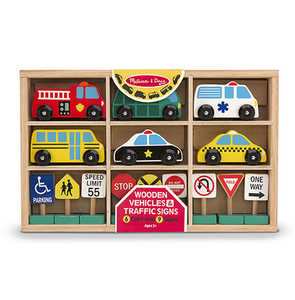 Melissa & Doug 3177 Wooden Vehicles And Traffic Signs