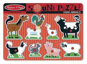 Melissa & Doug 726 Farm Animals Sound Puzzle 8 Pieces