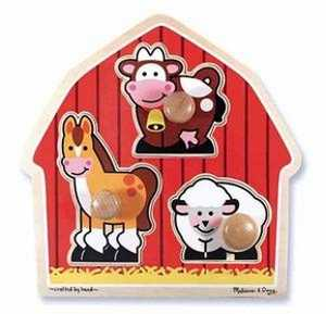 Melissa & Doug 2054 Barnyard Animals Jumbo Knob Puzzle 3-Piece