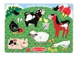 Melissa & Doug 3383 Farm Animals Peg Puzzle 6 Pieces