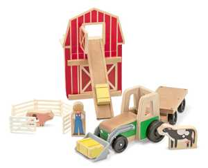 Melissa & Doug 3746 Whittle World Wooden Farm And Tractor Set 9-Piece