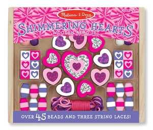 Melissa & Doug 9495 Shimmering Hearts Wooden Bead Set