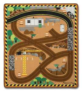Melissa & Doug 9407 Round The Construction Zone Work Site Rug And Vehicle Set