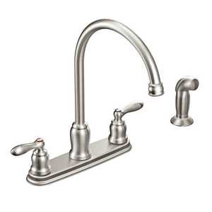Moen CA87060SRS Caldwell Spot Resist Stainless Two-Handle High Arc Kitchen Faucet