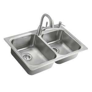 Moen 21657 20-Gauge Stainless Steel Double Bowl Emi Sink With Faucet
