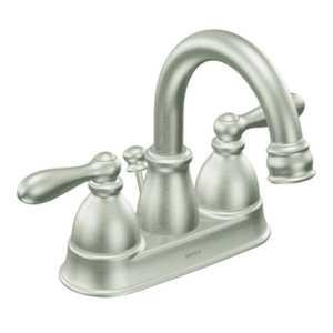 Moen WS84667SRN Caldwell Spot Resist Brushed Nickel Two-Handle High Arc Bathroom Faucet