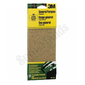 3M 9017NA 3-2/3x9 In Coarse Grit Aluminum Oxide Sandpaper 6-Pack