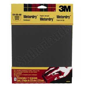3M 9088DC-NA 9x11 In Assorted Grit Wetordry Sandpaper 5-Pack