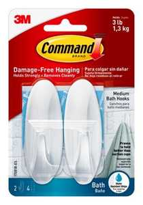 Command 17081B Deigner Hook With Water-Resistant Strips, Medium