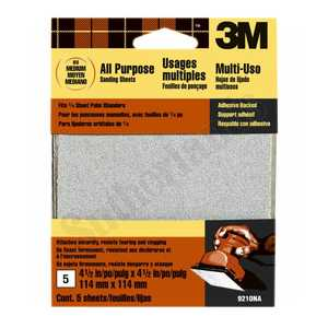 3M 9210NA 4-1/2x4-1/2 In Medium Grit Adhesive Backed Palm Sander Sheet 5-Pack