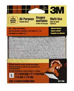 3M 9211NA 4-1/2x4-1/2 In Coarse Grit Adhesive Backed Palm Sander Sheet 5-Pack