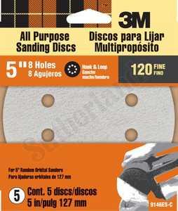 3M 9146ES Hook & Loop Dust Free120 Grit 5 In Sanding Disc